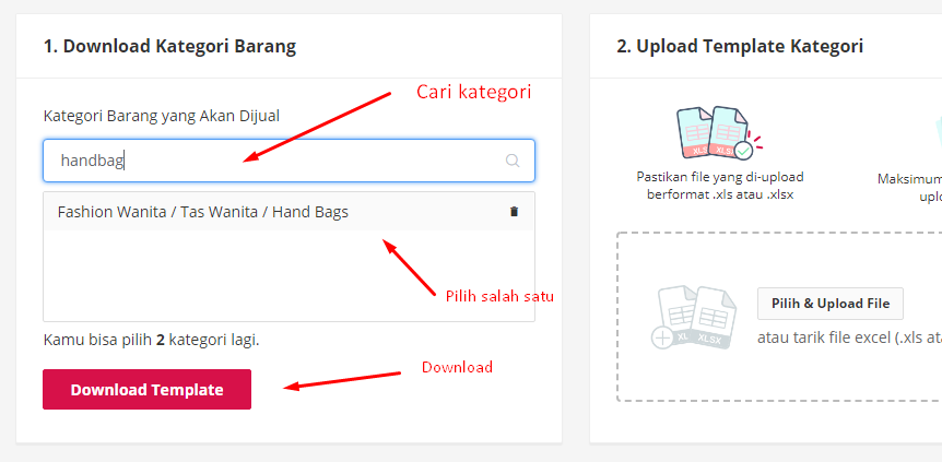 download template upload ke bukalapak
